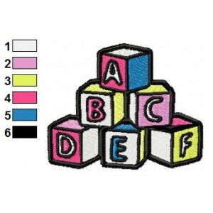 ABC Cubes Toys Embroidery Design