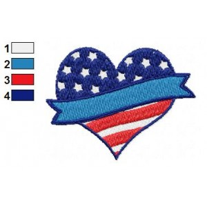 American Flag Heart Embroidery Design 02