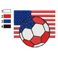 Ball of America with Flag Embroidery Design