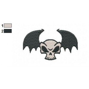 Bat of Skull Embroidery Design