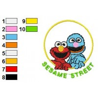Bert and Ernie Embroidery Design 11