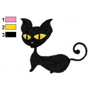 Black Cat Embroidery Design 05