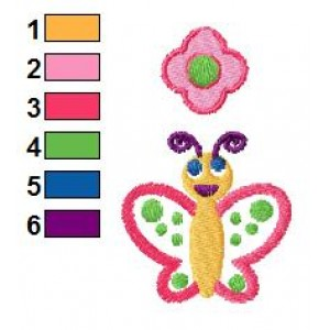 Cartoon Butterfly Embroidery Design