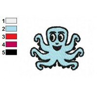 Cartoon Octopus Embroidery Design 04