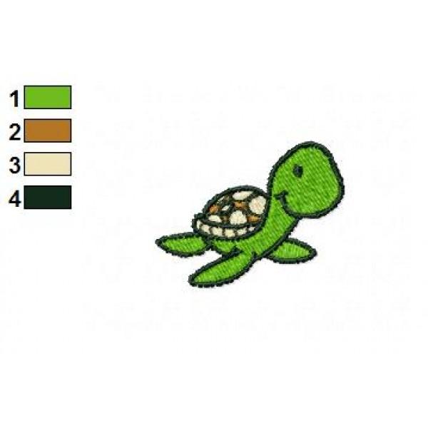 cartoon sea turtle embroidery design 02
