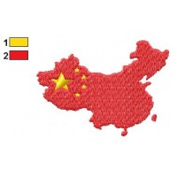 China Flag On Country Map Embroidery Design
