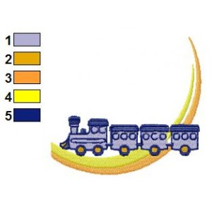 Colored Train Embroidery Design 02