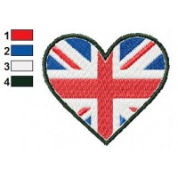 England Heart Flag Embroidery Design