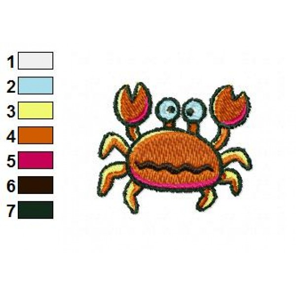 Funny crab embroidery design