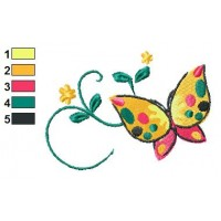 Gardenia Butterfly Embroidery Design