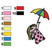 Girl Holding Umbrella Embroidery Design