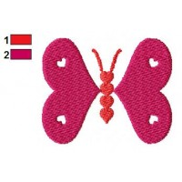 Hearts Butterfly Embroidery Design