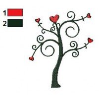 Hearts Tree Embroidery Design 02