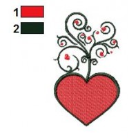 Hearts Tree Embroidery Design 03
