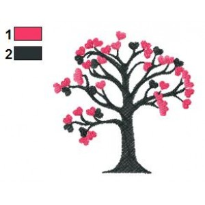 Hearts Tree Embroidery Design 04