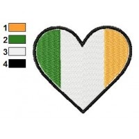 Irish Heart Flag Embroidery Design
