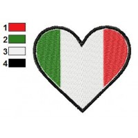 Italy Heart Flag Embroidery Design