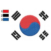 Korea Flag Embroidery Design