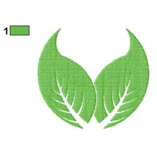 Logo two leaves embroidery design