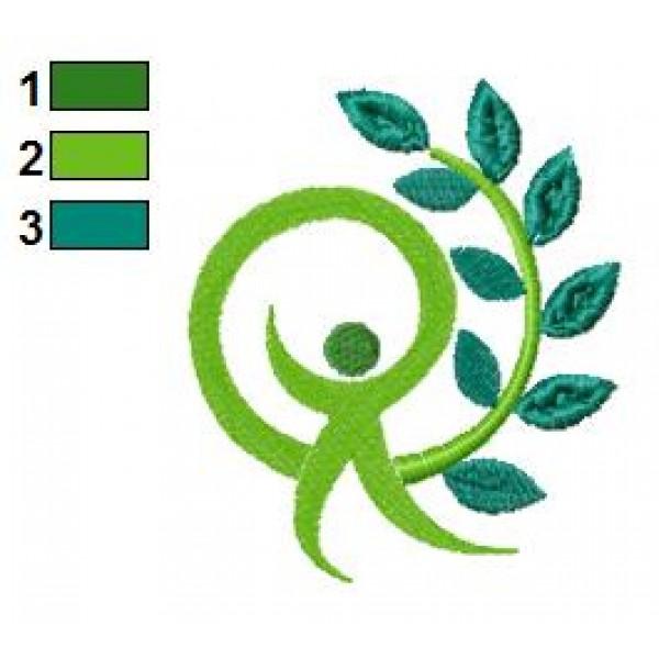 Man Tree Logo Embroidery Design