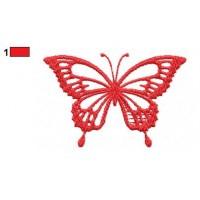 Red Butterfly Embroidery Design
