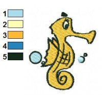 Seahorse Cartoon Embroidery Design 02