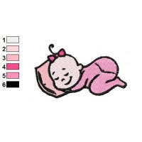Sleeping Baby Embroidery Design