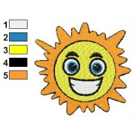 Smiling Sun Embroidery Design