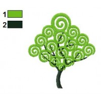 Swirl Tree Embroidery Design 02