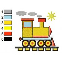 Train in Sunny Day Embroidery Design