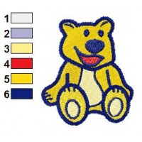 Yellow Teddy Bear Embroidery Design